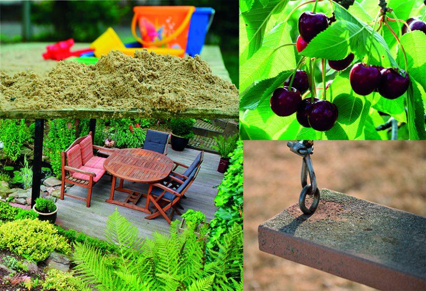 Styles de jardins - jardin pour toute la famille, table de jardin, balançoire et arbres fruitiers