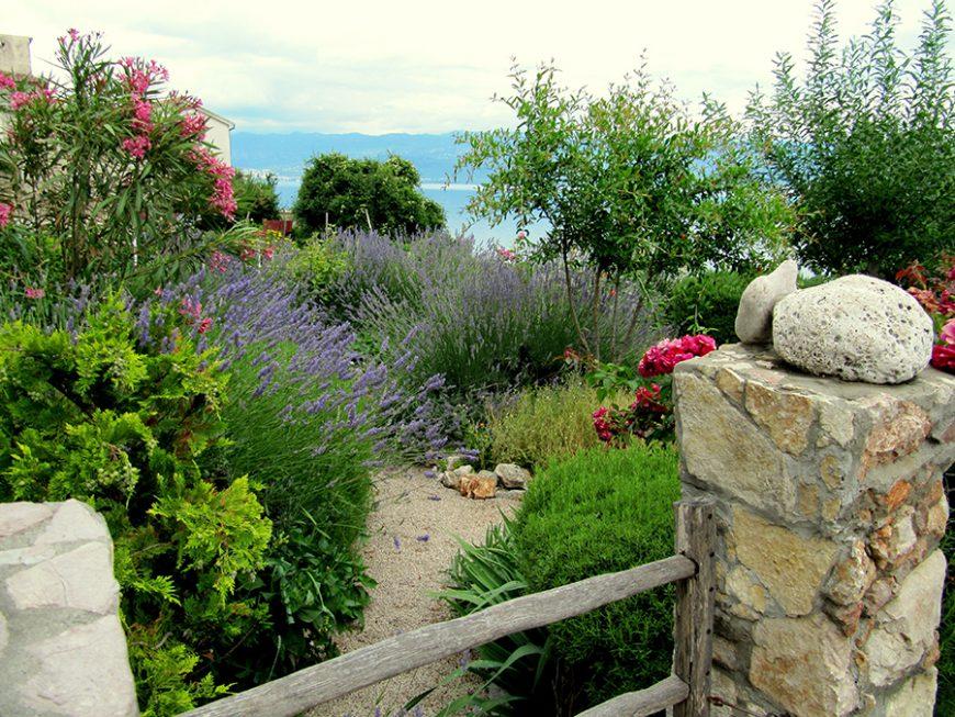 Styles de jardins - Jardin avec des lavandes et la mer en fond d'image