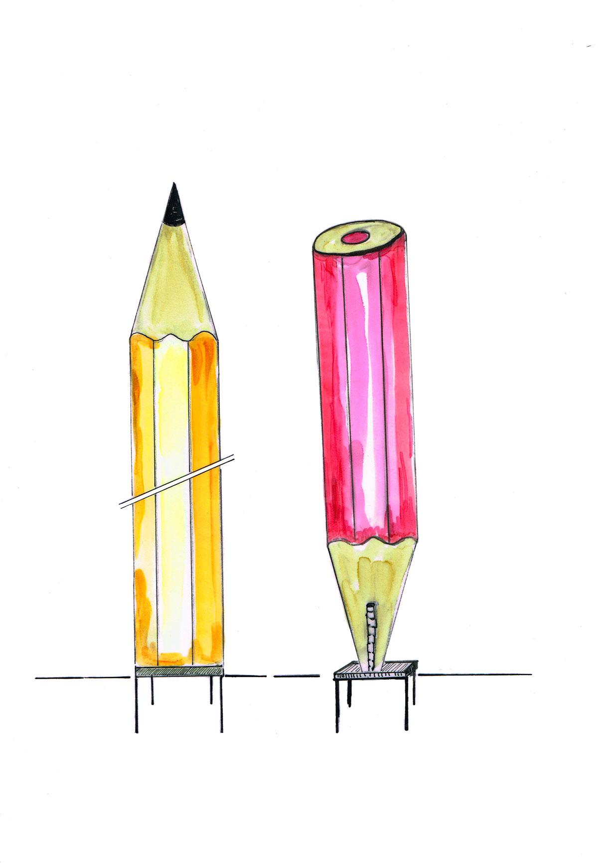 Dessin pour les crayons utilisés dans l'aménagement
