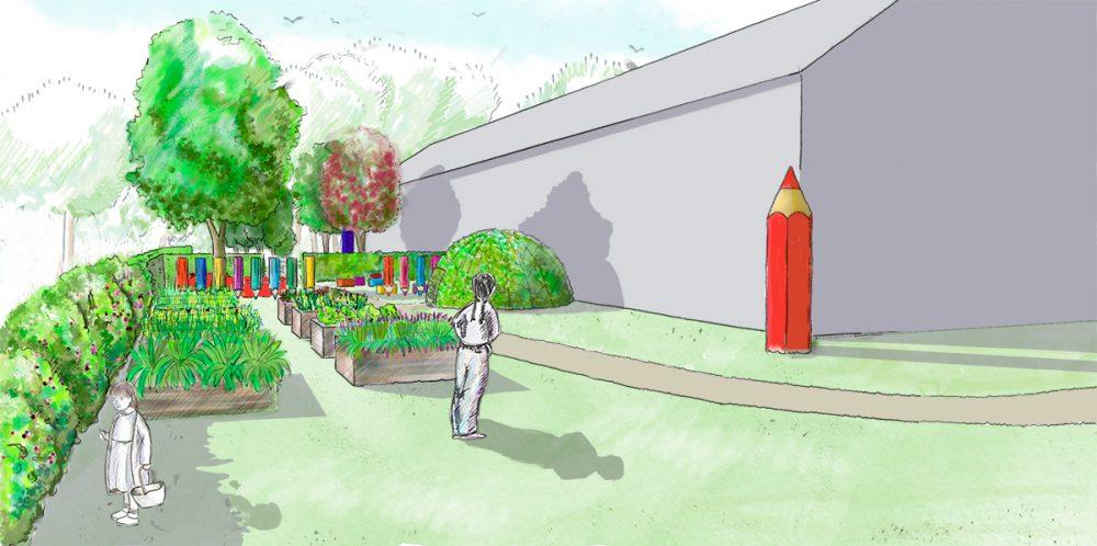 Vue de l'aménagement du jardin des saveurs à Sarreguemines