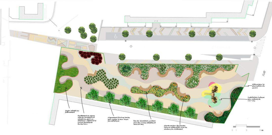 Plan de masse pour visualisation de l'aménagement du square à Colombes