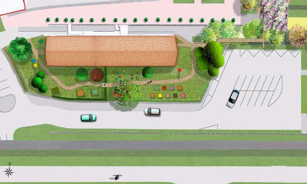 Proposition d'aménagement du jardin des saveurs à Sarreguemines, vue du haut