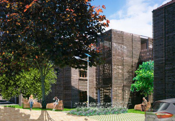 Photomontage de l'aménagement de la résidence à Louviers