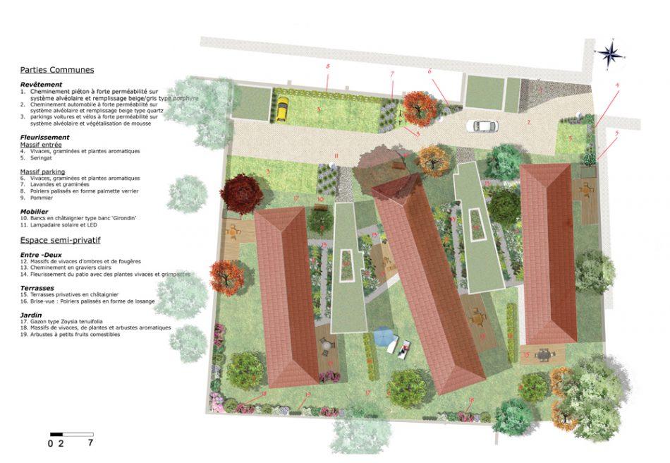visualisation du plan de masse pour l'aménagement des jardins de la closerie - bouviers