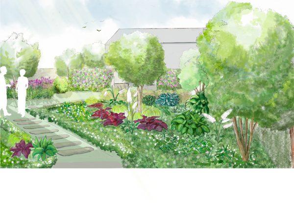 Visualisation de la proposition de l'aménagement d'un massif d'ombre
