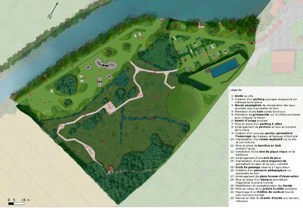 Plan de masse expliquant l'aménagement du terrain à Sarre-Union
