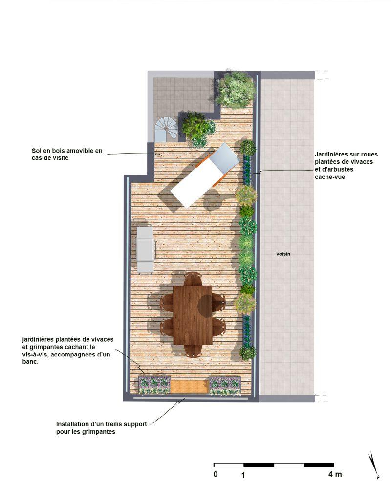 Plan de masse pour expliquer l'aménagement proposé de la terrasse à Montrouge