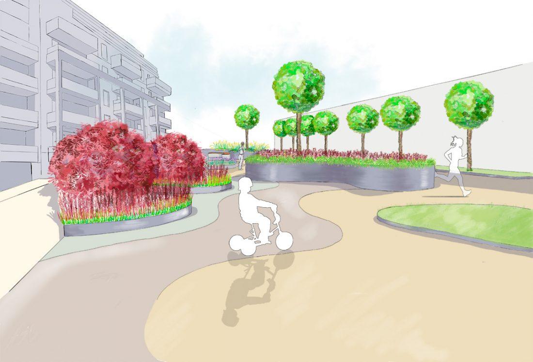 Visualisation de la proposition d'aménagement du square à Colombes
