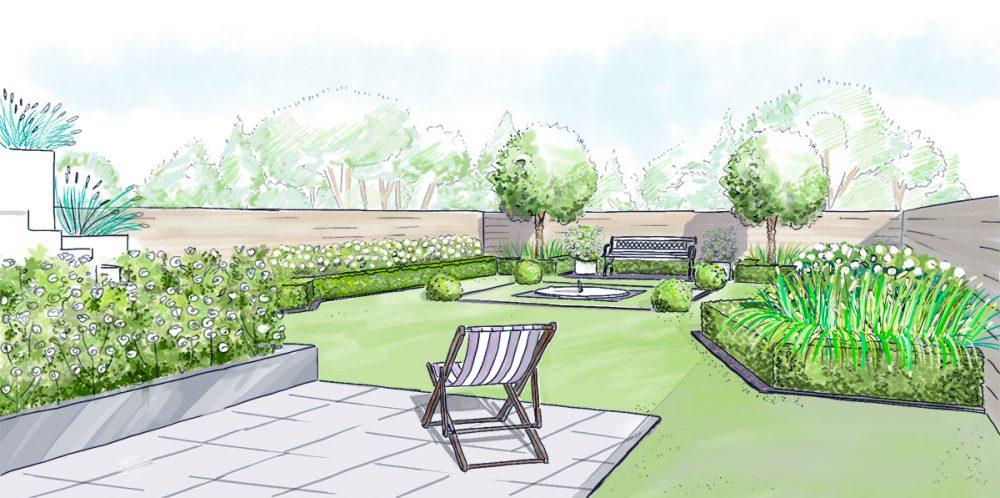exemple d'aménagement d'un jardin monochrome - service proposé aux professionnels