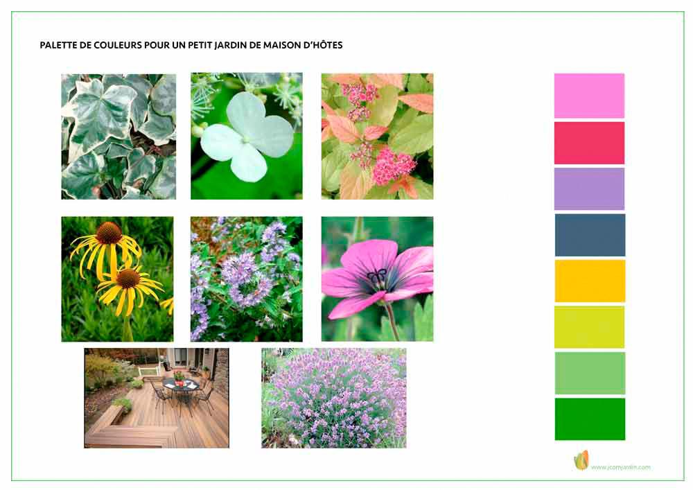 exemple de végétaux et couleurs utilisés pour l'aménagement paysager