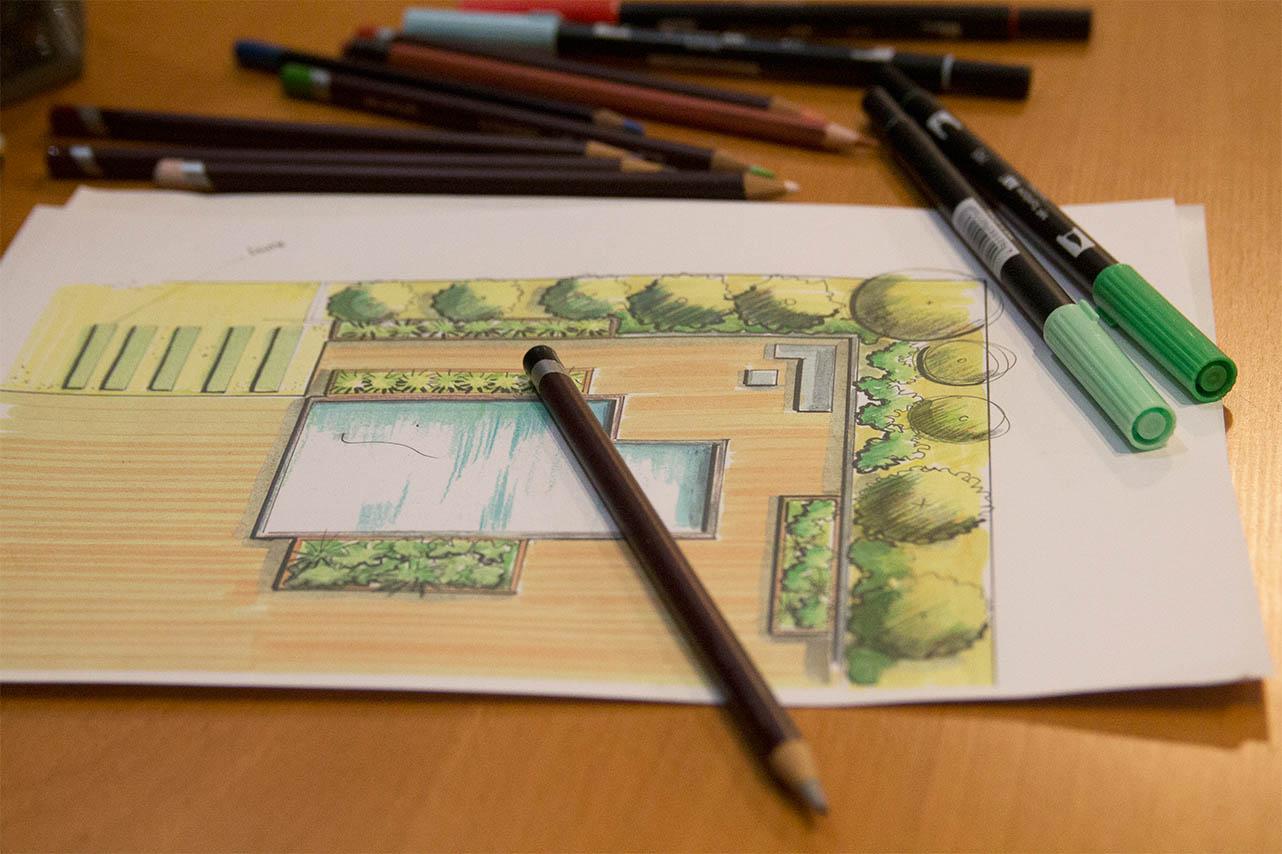 services de conception paysagère avec crayons
