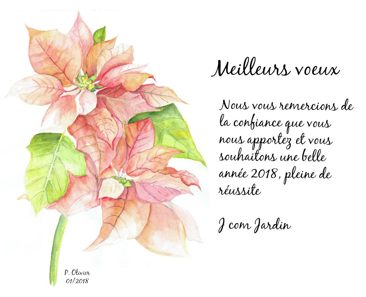 Carte de voeux de J com Jardin pour 2018