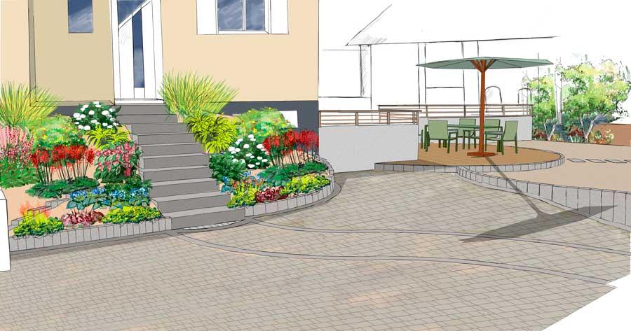 Entree maison avec escalier et terrasse ronde
